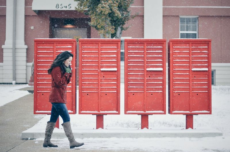 Red Full Length One Person Outdoors People Day Adults Only City Winter Building Exterior Real People Young Adult Adult One Woman Only Only Women Eyeemphotography Eyeemphoto Beauty Females Portrait Finding New Frontiers Beautiful People Eyem Gallery Arts Culture And Entertainment Snow