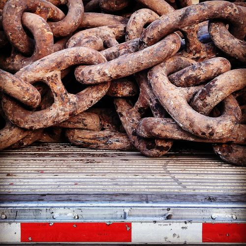 Taking Photos Outdoors No People Rusty Part Of Detail Chain Huge!! Seafaring Heavy Duty Equipment Trucking Unbreakable Links Steel Ironwork  Fine Art Photography