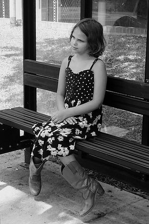 Daddy Daughter Time Girl Kid Photography Black And White B&w Photography Hello World Check This Out Taking Photos Waiting For The Bus On The Way Innocence Of Youth Family People And Places Bus Stop Monochrome Photography Cowgirl Cowgirlboots  Long Goodbye