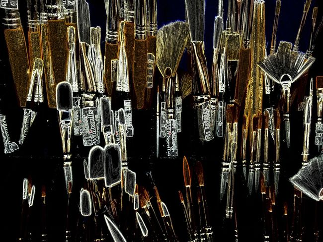 Painting Brushes on Display at Art Gallery Art, Drawing, Creativity