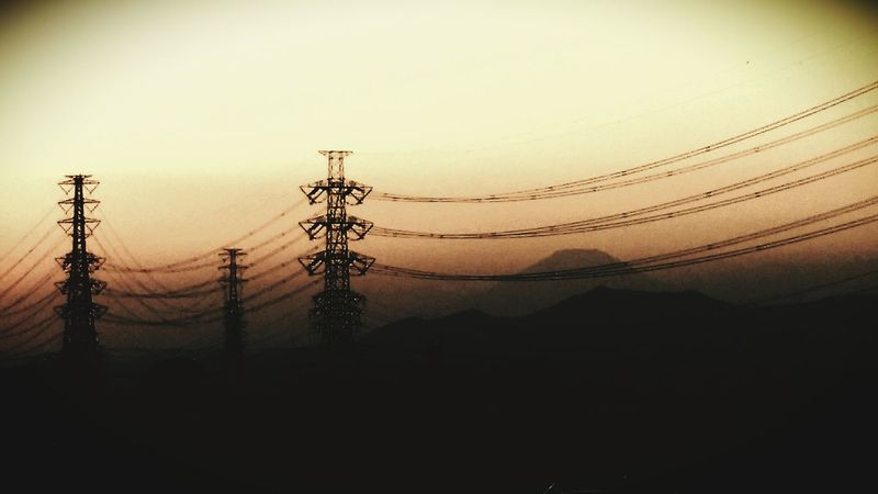 Sunset Mt.Fuji Electric Wire 鉄塔