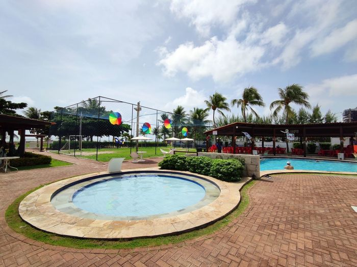 View of swimming pool against sky