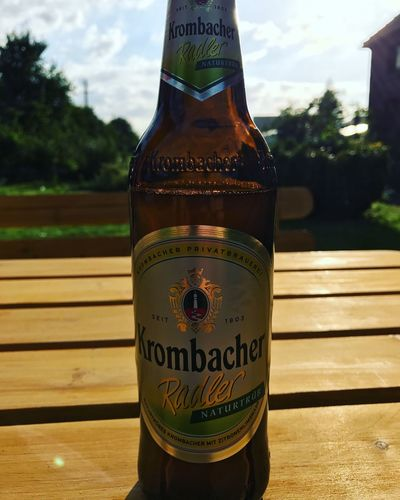 Western Script Text Bottle Communication Drink Close-up Alcohol Beer Capital Letter Label Cold Drink Water Bottle  Condensation Refreshment Focus On Foreground Food And Drink No People Drinking Straw Drinking Water Day Krombacher Krombacherradler Beer Time Radler Iphonephotography