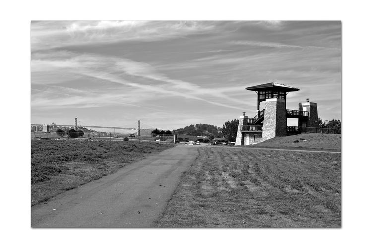 Middle Harbor 1 Port Of Oakland,Ca. Middle Harbor Observation Tower Bay Bridge San Francisco Skyline Golden Gate Bridge Yerba Buena Island San Francisco Bay Monochrome_Photography Monochrome Black & White Black & White Photography Black And White Black And White Collection  Grass Field Knoll Walkway Landscape_Collection Sky And Clouds Cityscape Sailboats Truck Fence Road Architecture Built Structure Horizon Over Water