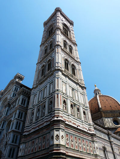tower bell of the Florence cathedral Building Exterior Low Angle View Architecture Built Structure Building Sky Nature Travel Destinations No People Clear Sky Day City The Past Belief History Religion Spirituality Place Of Worship Tourism Tower Outdoors Ornate Florence Italy Tower Clock