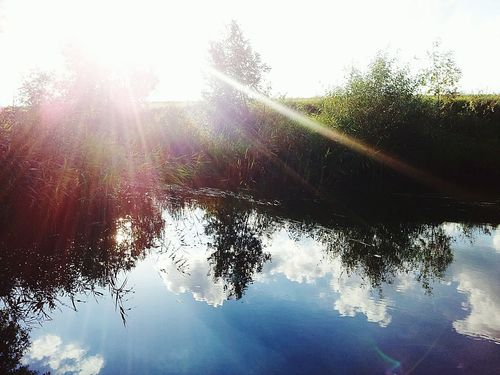 River Clouds Reflection Summer Nature Russia Sun