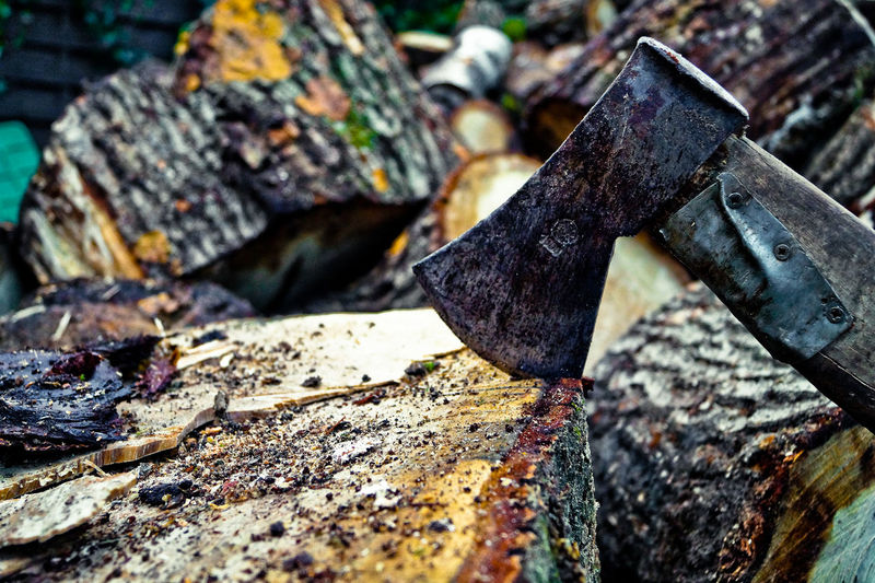Close-up of axe on log