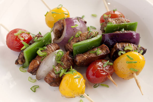 Skewers of chicken and vegetables. Healthy Eating Food And Drink Vegetable Chicken Skewers Skewered Chicken UnykaProductions High Angle View Green Pepper Red Onion Cherry Tomatoes Yellow Cherry Tomato Scallions No People Studio Photography Food Stories