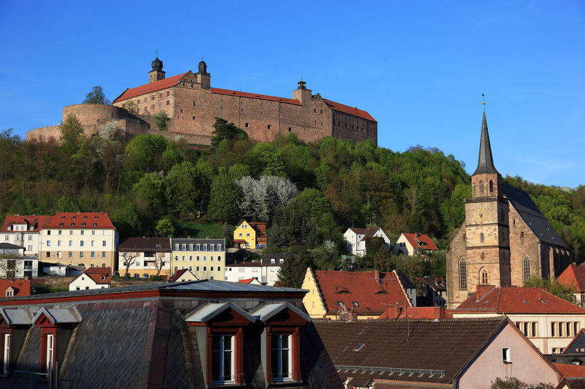 old city and castle Plassenburg of Kulmbach, Frankonia, Bavaria, Germany Plassenburg Architecture Belief Building Building Exterior Built Structure City Clock Day History Kulmbach Nature No People Outdoors Place Of Worship Plant Religion Residential District Roof Sky Spire  Spirituality The Past Tree