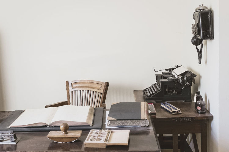 Technology Typewriter Nostalgia Retro Styled Communication Antique Table Sewing Machine Old Antique Office Dispatch Retro Accounting Company Telephone Record Book Ink Pen Nibs Ink Blotter Chair Business Workplace 40s Office Staf
