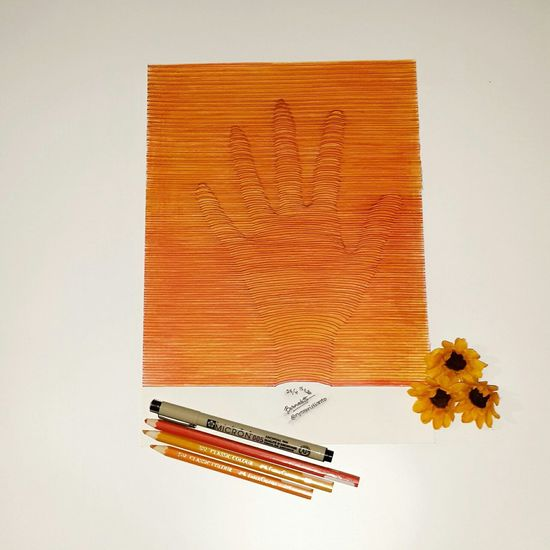 The Invisible Hand. Artsy Colourful ArtWork Art, Drawing, Creativity Drawingwork Illustration Drawing Hand Orange