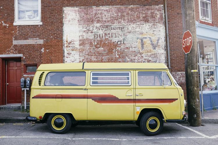 Vintage car on street