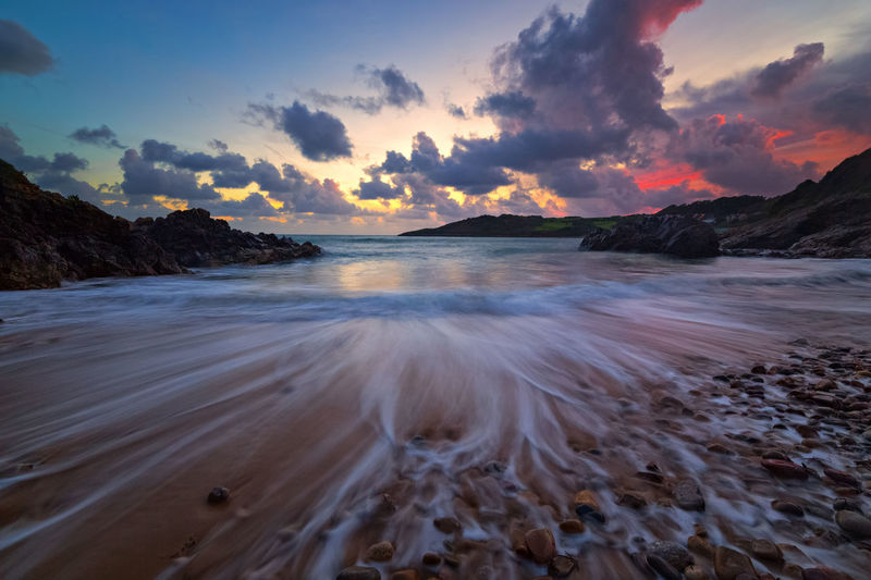 Scenic View Of Dramatic Sky Over Sea With Long Exposure