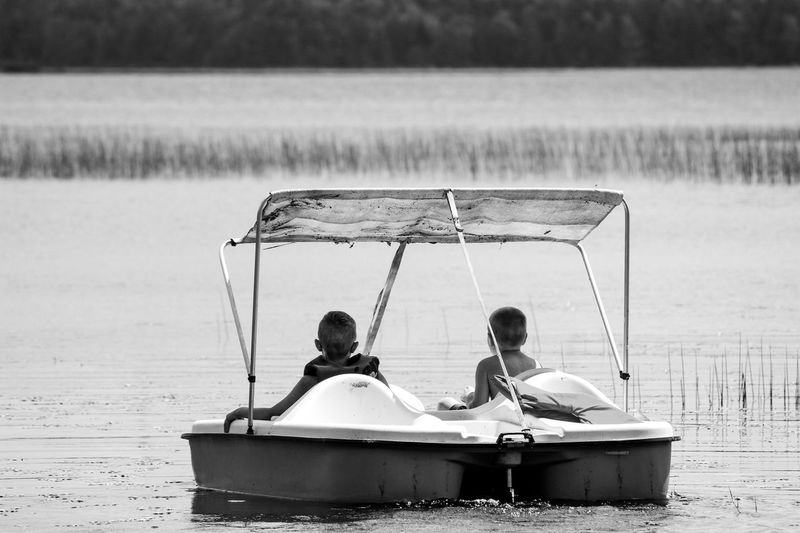 Two children in pedal boat