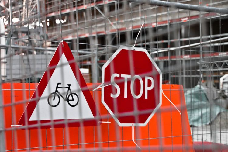 Under Construction Stop Signs Sign Through The Wire City Life Streetphotography Streets Stop Sign Construction Site No Biking No Bikes Allowed