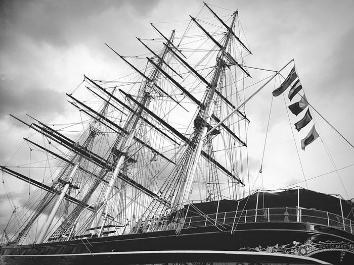 Black And White Clipper Ship showing the intricate Rigging of this beautiful Tall Ship Nautical Vessel No People London Sailing Ship Greenwich Cutty Sark The Still Life Photographer - 2018 EyeEm Awards