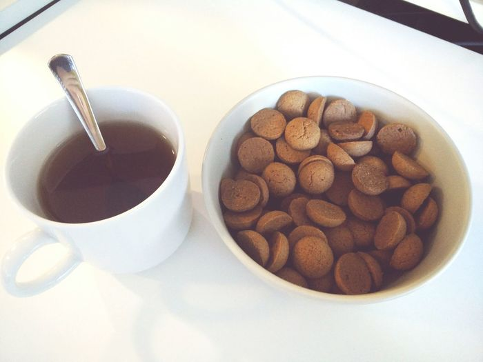 Bowl Childhood Memories Close-up Cup Food Food And Drink Happy Happyness Kruidnoten Pepernoten Spoon Start Of The Day Still Life Tea Work Dutch