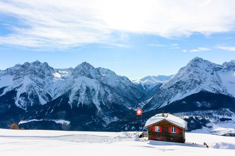 Mountain chalet in scuol, switzerland