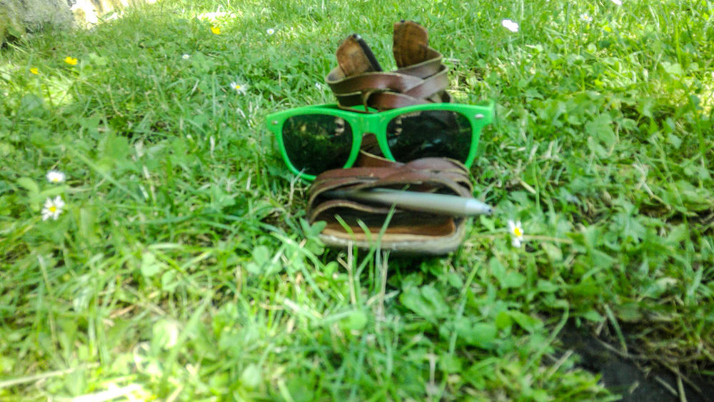 Fun Grass Green Color No People Outdoors Shoe Silly Sunclasses