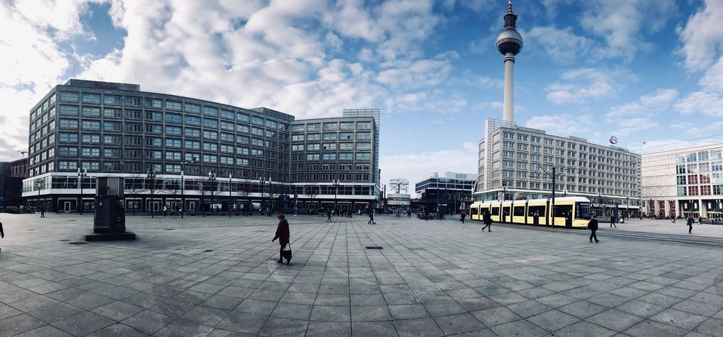 Alexanderplatz Berlin IPhoneography Panoramic Photography BVG Moments Bvg Tram Telespargel Fernsehturm Berlin  Fernsehturm Alexanderplatz Architecture Building Exterior City Built Structure Sky Cloud - Sky Outdoors Cityscape Day