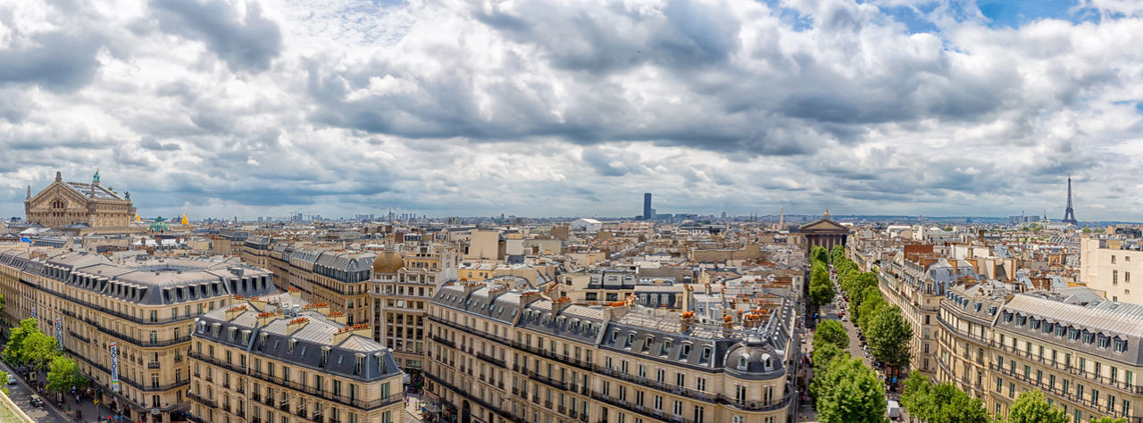 Panoramic high angle view of buildings against cloudy sky