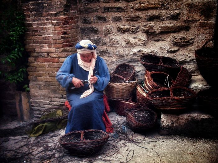 Old Woman Old Craft Mercato Delle Gaite Sitting Portrait Front View