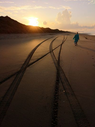 On the beach. Water Sunset Beach Full Length Sun Silhouette Sky Romantic Sky