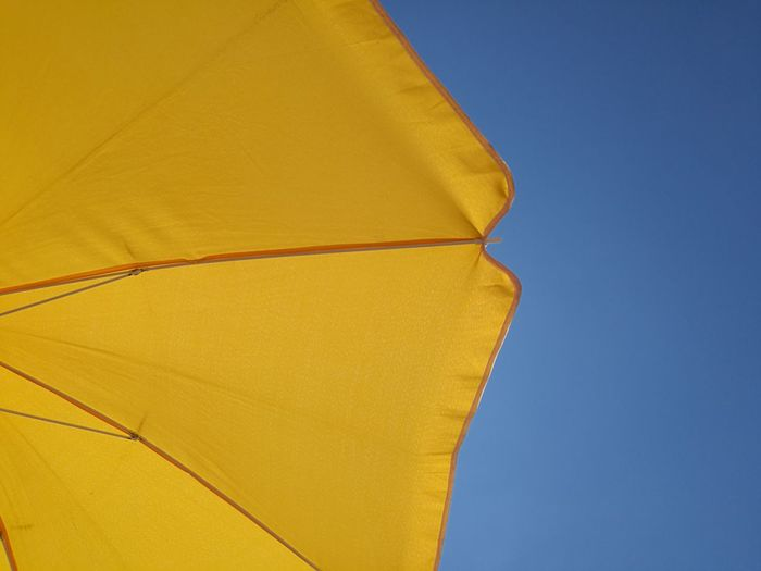 Yellow Outdoors Blue Day No People Sky Summer Clear Sky Nature HuaweiP9 Relaxation Vacations Nature No Filter Umbrella Art Umbrela Umbrellatime