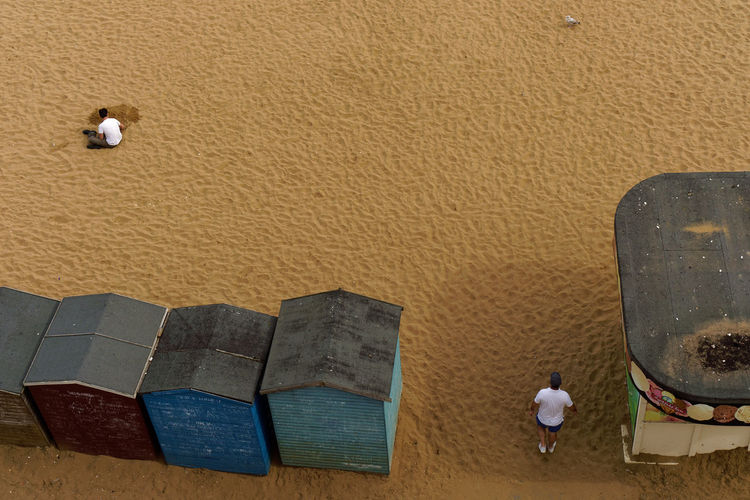 High angle view of piano on beach