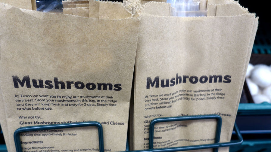 Close-up Communication Day Indoors  Mushroom Bags Mushrooms For Sale No People Paper Text Uk Supermarket Website Design