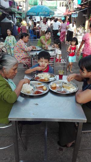 Eating Boy. Saduditha Donation Myanmar Tradition Yangon