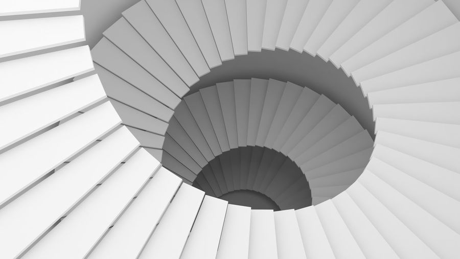Structure of white spiral staircase or tunnel in digital data technology concept. 3d abstract illustration. Architecture Business Isolated Abstract Architectural Feature Architecture Built Structure Ceiling Close-up Concept Day Design Indoors  Low Angle View Modern No People Pattern Railing Spiral Spiral Staircase Stair Staircase Steps And Staircases Wall - Building Feature