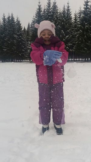 snow Winter Snow Cold Temperature Warm Clothing Snowing Front View One Person Child Childhood Snowflake Outdoors Nature Children Only Day Full Length People
