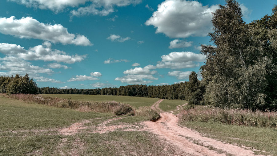 dirt roads through the field Dirt Road Moscow Region Summer Russia Forest WoodLand Fluffy Clouds Country Road Tree Rural Scene Agriculture Field Crop  Sky Cloud - Sky Cultivated Land Farmland Agricultural Field Farm Cultivated