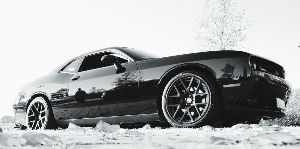 Dodge Challenger Fall Black And White Reflection