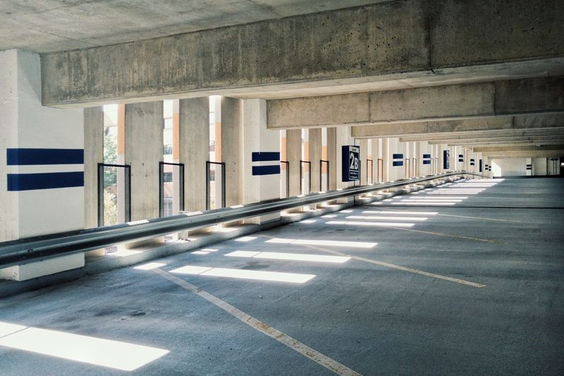 Parking garage. New Britain, CT. Modernism Parking Garage Light And Shadow Lined Up In A Row Urban Geometry Concrete Textures And Surfaces Light Streaks Showcase July New England  Everyday Street Photography The City Light
