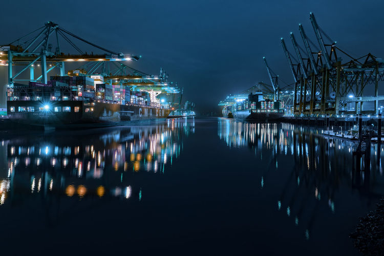 Container port Capture Tomorrow Water Night Reflection Illuminated Sky Transportation Waterfront Crane - Construction Machinery Harbor Pier Machinery Industry Architecture Business Sea Commercial Dock Nature No People Nautical Vessel Outdoors
