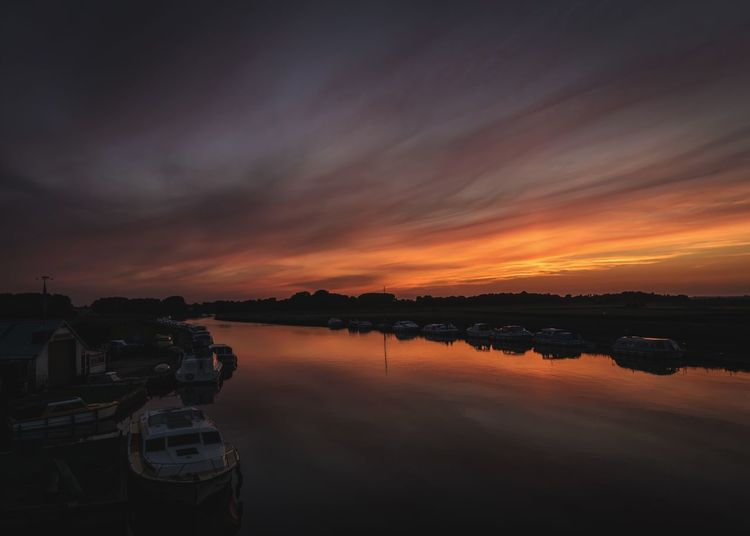 Sunset Reflection Water Orange Color Nautical Vessel Sky Cloud - Sky Nature Beauty In Nature Scenics No People Transportation Outdoors Tranquility River River Scene Boats Moored Boats Moored Boat Yard Landscape Rural Scene Norfolk Norfolk Broads Acle
