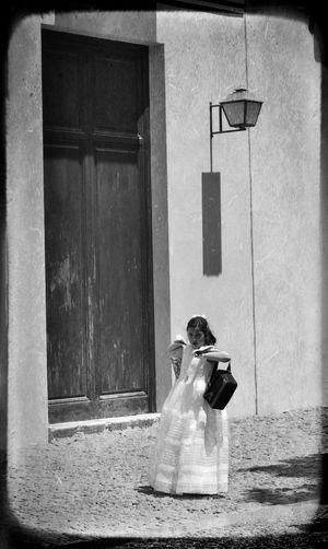 Adult Architecture Black & White Blackandwhite Building Exterior Celebration Dress EyeEm Gallery Girl One Person Outdoors Retro Vintage Walking Around The City