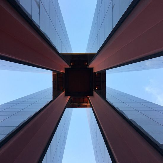 Architecture Built Structure Building Exterior Connection Low Angle View No People Clear Sky Outdoors Sky Day Reflections Tiergarten Berlin Carillon Architecture Geometry Geometric Shapes