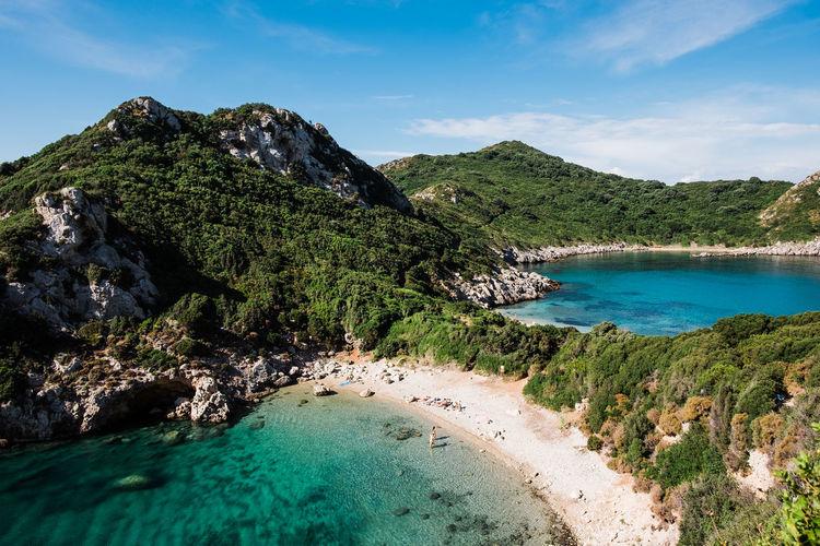 Landscape images of porto timoni beach on corfu from above.