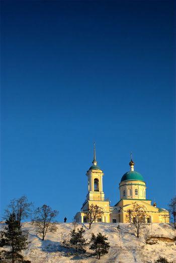 капыстичи Russia Природа Winter Landscape пейзаж храм