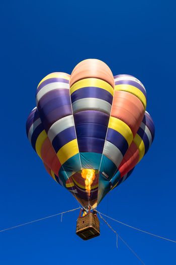 Hot air balloons in the sky Hot Air Balloon Sky Air Vehicle Blue Flying Balloon Mid-air Transportation Adventure Multi Colored Clear Sky Low Angle View Nature Parachute Freedom Mode Of Transportation Day Extreme Sports Pattern Sport Outdoors Ballooning Festival Blue Sky Hot Fire