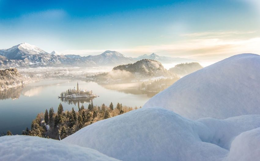 Bled Island, Slovenia Landscape Winter Lake Island Sunrise First Eyeem Photo