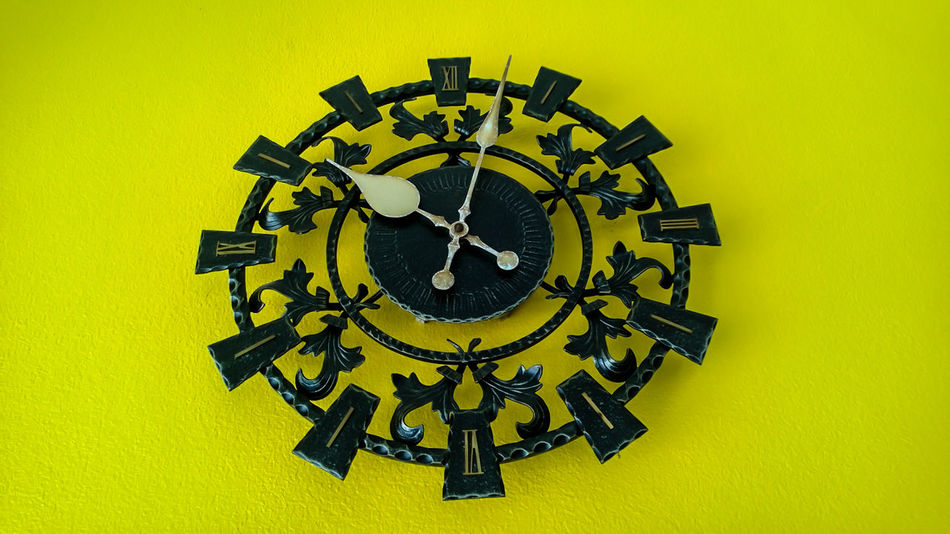 Clock Clock Face Close-up Day Indoors  Minute Hand No People Roman Numeral Time Yellow