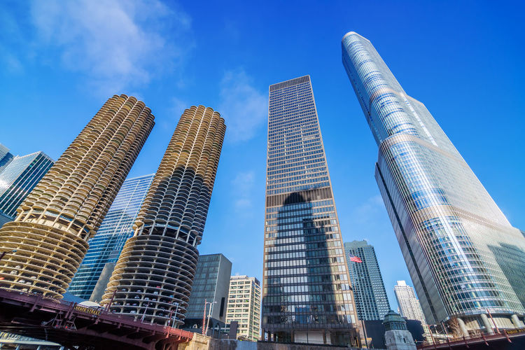 View of skyscrapers in downtown Chicago, USA Architecture Art Building Chicago City Cloud Downtown Famous Gate Illinois Kapoor Landmark Mirror Modern Morning Refletion Sculpure Shiny Sky Skyline Steel Travel United States Urban USA