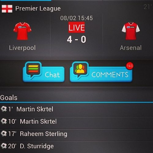 Arsenal Liverpool PremiereLeague 4-0 First 20 minutes! Poor Arsenal :')