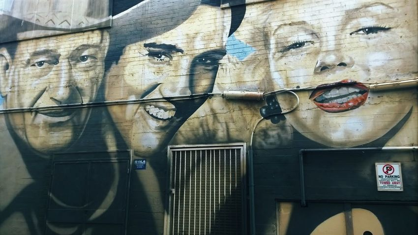 Backgrounds Close-up Elvis Presley Full Frame Hollywood Icon John Wayne Marylin Monroe Murales Side By Side Stars Street Art Street Photography Street Portrait Streetart Wall