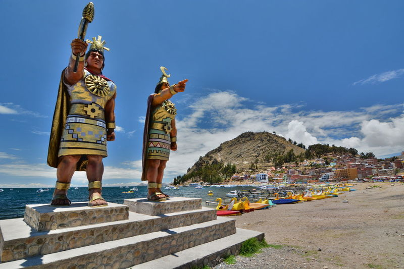 Inca gods. Copacabana. Titicaca lake. Bolivia Andes Andes Mountains Architecture Bolivia Copacabana Bolivia Eyeem Bolivia Inca Incas Isla Del Sol Lake Lakeshore Landscape Outdoors Religion Spirituality Statue Titicaca Titicaca Lake Tradition Traditional Clothing Travel Travel Destinations Warrior - Person Miles Away