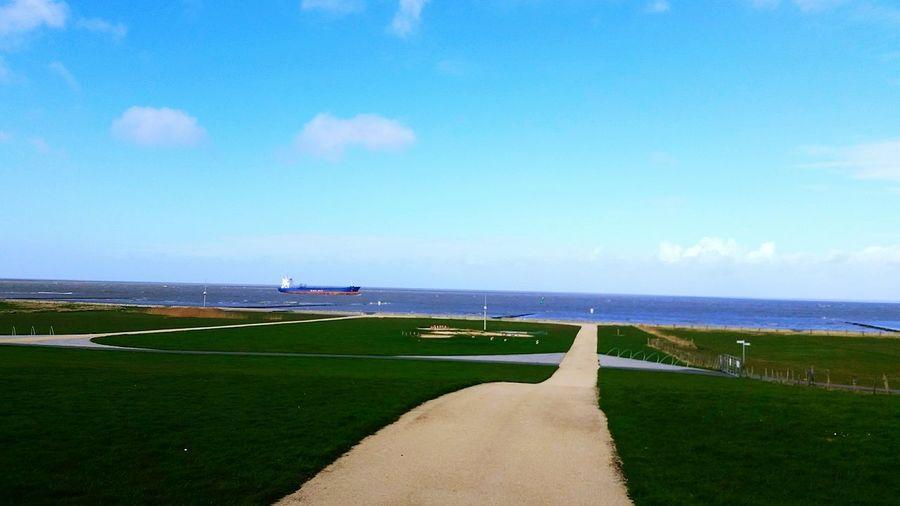 Meer Schönes Wetter Blauer Himmel Cuxhaven